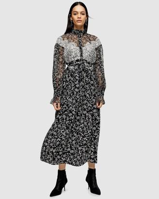 Topshop Idol Floral Lace Shirt Dress