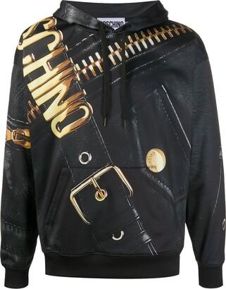 Moschino Macro Biker print hoodie