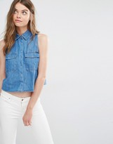Pull&Bear Sleeveless Denim Shirt