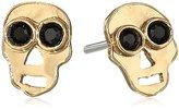 Mercedes Salazar Gold Hammered Skull Earrings