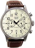 Davis 1023-Men's Vintage Aviator 42MM Watch-Waterresist 50M-Chronograph- Dial-Brown Leather Strap