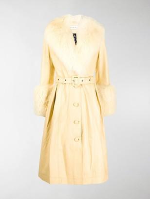 Saks Potts Foxy faux-fur trimmed coat