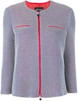 Giorgio Armani contrast trim zipped jacket - women - Silk/Cotton - 46