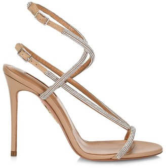 Aquazzura Moondust Crystal-Embellished Leather Sandals