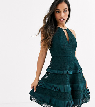 Forever New Petite halter neck cut out tiered lace mini dress in emerald green
