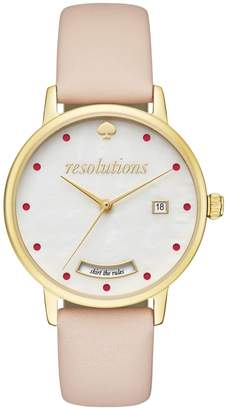 Kate Spade Metro Goldtone Stainless Steel and Vachetta Leather Strap Analog Watch