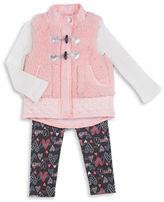 Little Lass Girls 2-6x Three-Piece Fur Vest, Top and Heart Print Leggings Set