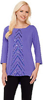 Bob Mackie Bob Mackie's 3/4 Sleeve Knit Top with Chevron Sequin Front Detail