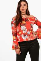 boohoo Plus Beth Off Shoulder Oriental Top