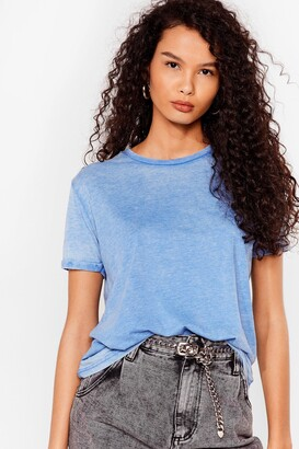 Nasty Gal Womens Wash Over Them Relaxed Tee - Denim