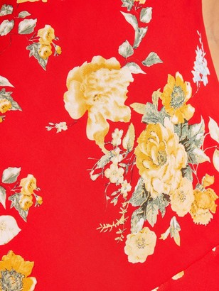 Quiz Chiffon Floral Midi Ruched Slit Dress - Red/Yellow