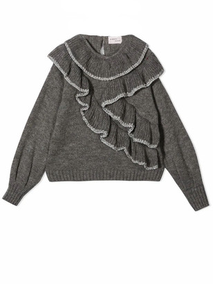 Alberta Ferretti Grey Ruffle-trim Knit Jumper