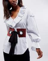 Asos Large Eyelet Corset Belt With Chiffon Tie