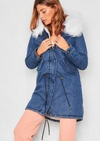 Missy Empire Matilda White Denim Faux Fur Parka Coat
