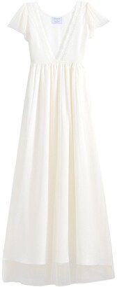Maxi Wedding Dress with Short Sleeves and Plunge Back