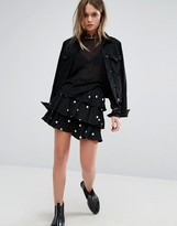 Motel Ruffle Mini Skirt In Spot