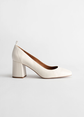 And other stories Square Toe Leather Ballerina Pumps