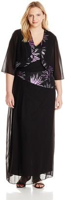 Le Bos Women's Plus-Size Long Asymmetric Glitter Jacket and Dress Set