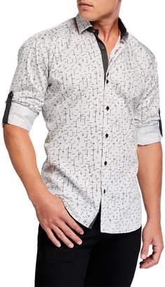 Maceoo Shaped-Fit Geo-Print Roll-Tabbed Sport Shirt, Black