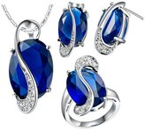 Babao Jewelry Jewelry Sets Babao Jewelry Unique Denim Blue 18K Platinum Plated Cubic Zirconia Crystals Pendant Necklace Earrings Set Ring Size 6
