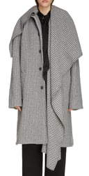 Balenciaga Houndstooth Wool Blend Coat with Oversize Scarf
