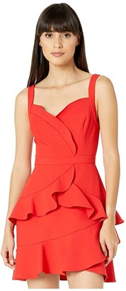 BCBGMAXAZRIA Ruffle Cocktail Dress (Rosso) Women's Dress