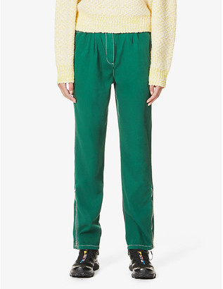 Kenzo Zip-detail tapered high-rise cotton-twill trousers