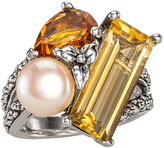 Stephen Dweck Pearl & Citrine Cluster Ring, Size 7