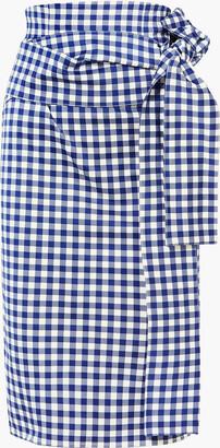 Silvia Tcherassi Saturnio Belted Gingham Cotton-bend Pencil Skirt