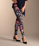 Lbisse Women's Casual Pants Multi - Navy Floral Leggings - Women & Plus