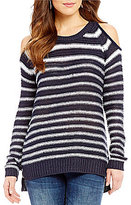 RD Style Striped Cold Shoulder Sweater