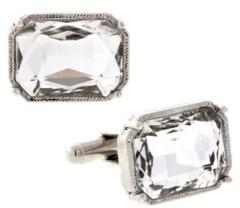 1928 Jewelry Silver-Tone Rectangle Crystal Cufflinks