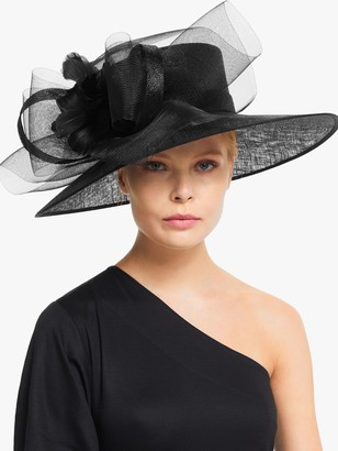 John Lewis & Partners Blake Square Crown Loop and Feathers Occasion Hat, Black