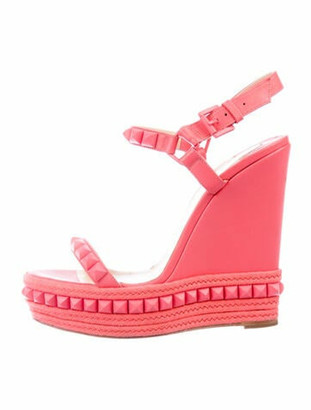 Christian Louboutin Leather Studded Accents Espadrilles Pink