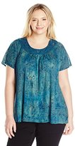 Lucky Brand Women's Plus Size Macrame Yoke Top in Blue Multi