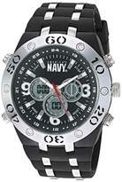 U.S. Navy Men's Analog-Digital Chronograph Silver-Tone and Silicone Strap Watch by Wrist Armor