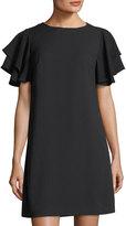 Chetta B Flutter-Sleeve Crepe Shift Dress