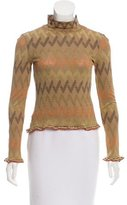 M Missoni Chevron Mock Neck Top