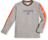 Armani Junior Long-Sleeve Cotton Jersey Logo Tee, Gray, Size 4-12