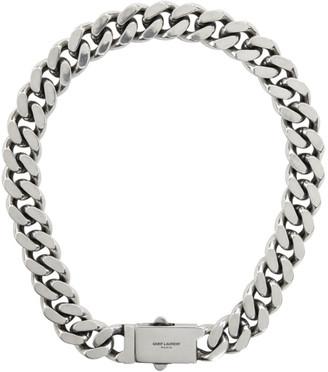 Saint Laurent Silver Curb Chain Necklace