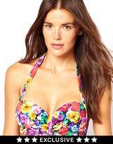 Asos FULLER BUST Exclusive Floral Print Halter Bikini Top D-F - Multi