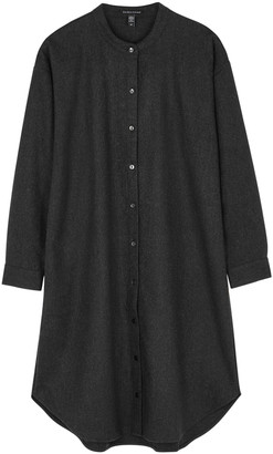 Eileen Fisher Charcoal Wool-flannel Shirt Dress