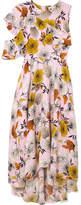 Maje One-shoulder Floral-print Crepe Midi Dress - Pink
