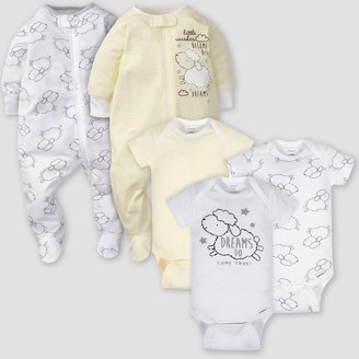 Gerber Baby 5pk Lamb Short Sleeve Onesies and Sleep N' Play -