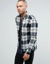 Religion Regular Fit Shirt with Zip Through in Check Cotton