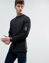 Jack and Jones Core Longline Sweatshirt with Cuff Print and Arm Pocket