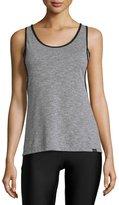 Koral Activewear Jump Layered Tank Top, Heather Gray/Black