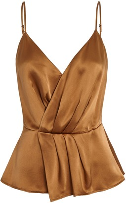 L'Agence Chiara Sleeveless Silk Wrap Top