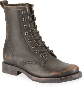 Frye Veronica Rustic Leather Combat Booties