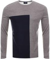 Giorgio Armani Jeans Knitted Colour Block Jumper Brown